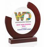 Custom Mahogany Finish Glass Award