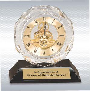 5 3/4 Clear Crystal Clock on Black Pedestal Base