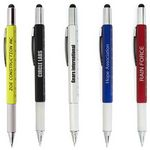 Custom 7 In 1 Plastic Tool Pen w-Stylus