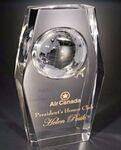 Custom Acrylic Stylized Beveled Embedment Award w/ Embossed Globe