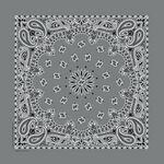 Imported Blank Charcoal Gray Paisley Bandanna