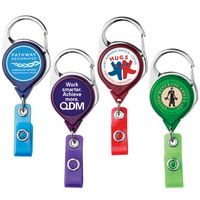 Carabiner Retractable Badge Reel w/ Belt Clip - Translucent (Polydome)