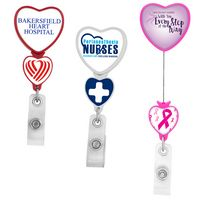 Double Up Heart Retractable Badge Reel (Polydome)