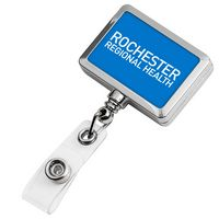 Chrome Rectangle Badge Reel (Label Only)