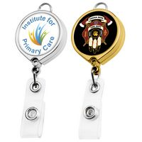Metallic Finish Round Large Face Badge Reel (Polydome)