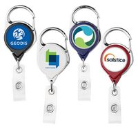 Carabiner Retractable Badge Reel w/ Belt Clip (Polydome)
