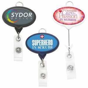 Jumbo Oval Badge Reel w/Lanyard Attachment(Label)