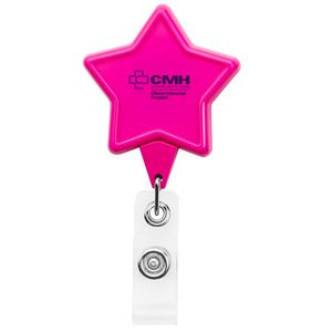 Star Hot Pink Retractable Badge Reel (Chroma Digital Direct Print)