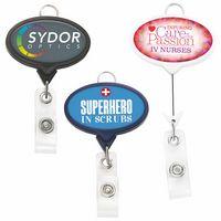 Jumbo Oval Badge Reel w/Lanyard Attachment(Polydome)