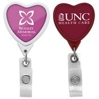 Jumbo Anti-Microbial Heart Retractable Badge Reel (Label Only)