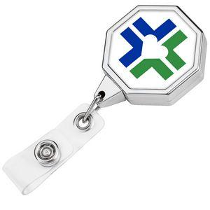 Chrome Jumbo Octagon Retractable Badge Reel (Label)