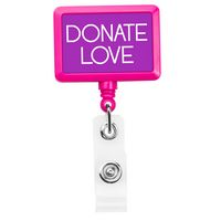 Rectangle Hot Pink Badge Reel (Polydome)
