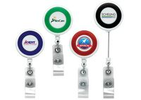 Jumbo Color Ring Round Retractable Badge Reel w/ Alligator Clip (Polydome)