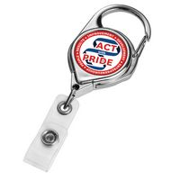 Chrome Carabiner Badge Reel w/ Belt Clip (Polydome)
