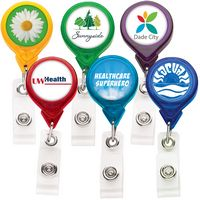 Best Translucent Round Retractable Badge Reel w/ Alligator Clip (Polydome)