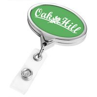 Chrome Jumbo Oval Badge Reel (Label Only)