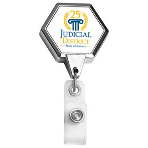 Chrome Jumbo Hexagon Retractable Badge Reel (Polydome)