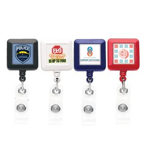 Better Square Retractable Badge Reel (Polydome)