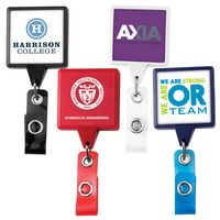 Jumbo Square Retractable Badge Reel w/ Belt Clip (Label Only)