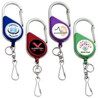 Chrome Heavy Duty Carabiner Badge Reel (Label)
