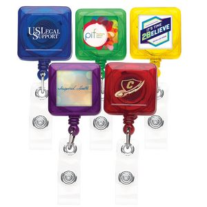 Better Translucent Square Retractable Badge Reel (Polydome)