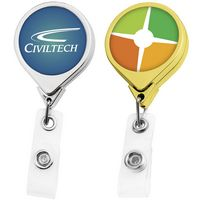 Metallic Finish Jumbo Round Badge Reel (Label Only)