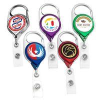 Chrome Carabiner Badge Reel w/ Belt Clip (Label)