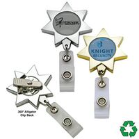 Metallic Finish 7 Point Star Badge Reel (Polydome)