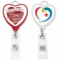 Jumbo Heart Badge Reel w/Lanyard Attachment(Label)