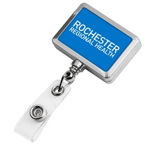 Chrome Rectangle Badge Reel (Polydome)