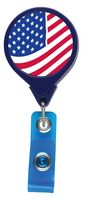 U.S. Flag Jumbo Retractable Badge Reel (Pre-Decorated)