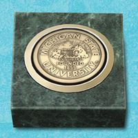 "Green Marble Paperweight w/Medallion (2""x2"")"