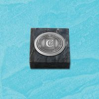 "Black Marble Paperweight w/Medallion (2""x2"")"