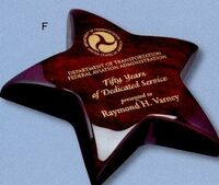"Piano Finish Rosewood Star Paperweight Award (5 1/2"")"