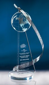 Custom Printed Above And Beyond Stainless Crystal Awards