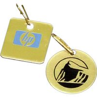 "1"" Round or Square Aluminum Zipper Pull with am Epoxy, Screen Printed Imprint. Made in the USA."