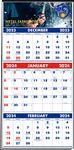 Custom 3-Months-In-View Multi-Sheet Full-Color Calendar (Blue & Red)