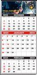 Custom 3 Months In View Multi-Sheet Full Color Calendar (Black & Red Pad)