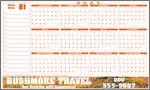Custom FULL Color Premium Plastic Write-on/ Wipe-off Year-at-a-Glance Calendar (Horizontal)