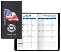 Executive Vinyl Cover w/ Pre-Printed Flag - Monthly Planner (1 Color Insert)