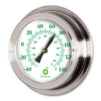 "Nickel Replica Porthole Thermometer (9"")"