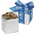 Custom Classic Present Tin w/ Chocolate Covered Sprinkled Pretzels