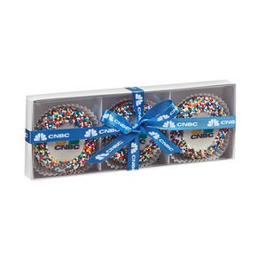 Elegant Belgian Chocolate Custom Oreo Gift Box - Rainbow Nonpareil Sprinkles