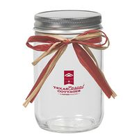 12 Oz. Glass Mason Jar w/ Raffia Bow (Empty)