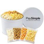 Custom 4 Way Popcorn Tins - (2 Gallon) - Individually Bagged