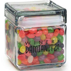 Square Glass Jar Assorted Jelly Beans 32 Oz 32sqgjjb