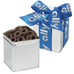 Custom Classic Present Tin w/ Chocolate Covered Pretzels