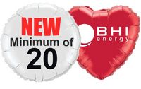 "18"" Round, Heart 2-Color Spot Print Microfoil Balloons"