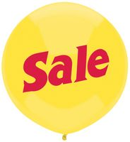 "17"" Outdoor Display Latex Balloon - Yellow, Stock SALE Print"