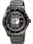 Custom Selco Geneve Men's Canvas Medallion Gun & Rose Gold Watch